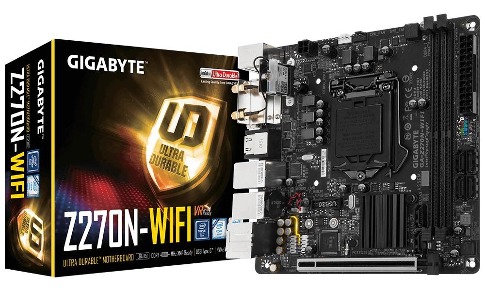 Gigabyte GA-Z270N-WIFI, Mini ITX, Intel Z270, LGA 1151, 2DDR4, 6SATA3, M 2  PCIe, PCI-E x16, DVI, HDMI, WI-FI